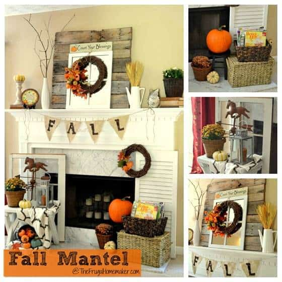 Pikidilly – Fall Mantel Decorated With Reclaimed Pallet Wood
