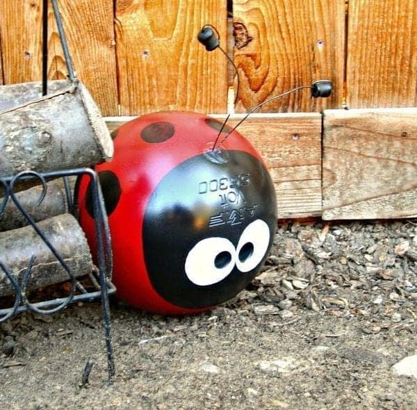 Upcycled Bowling Ball Yard Art