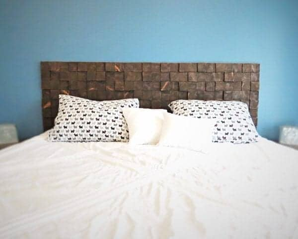A Custom Removable DIY Wood Block Headboard for Cheap!