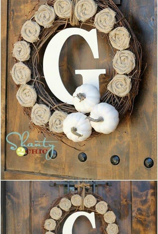 Easy $10 Burlap Rosette Wreath