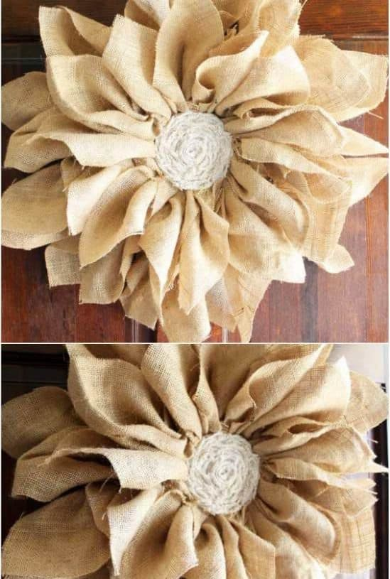 Burlap And Flower Fall Wreath